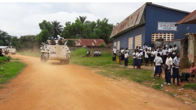 UN vehicle in Tshimbulu, Kasai province, 20 March 2017