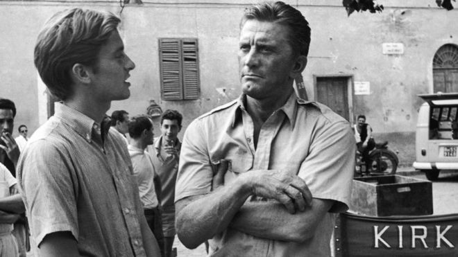 Kirk Douglas with son Michael in 1965