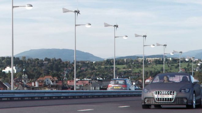Artist's impression of the turbines on lampposts
