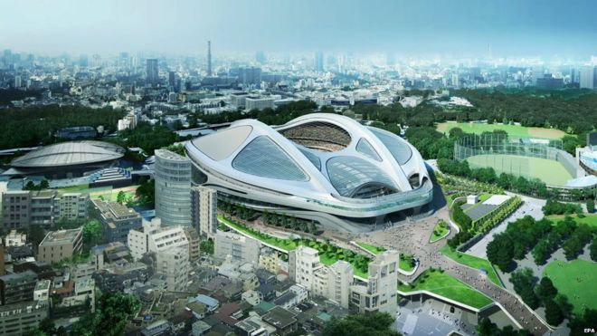 File photo: An undated handout image released by Japan Sport Council on 17 July 2015 shows an artist's concept image of the new National Stadium for 2020 Tokyo Olympics designed by Iraqi-British architect Zaha Hadid