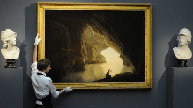 Joseph Wright's A grotto in the Gulf of Salerno, with the figure of Julia, banished from Rome