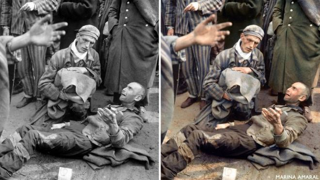 Prisioneiros são libertados do campo de concentração de Wöbbelin, em abril de 1945