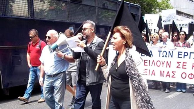 Greek journalists protesting over media reorganisation