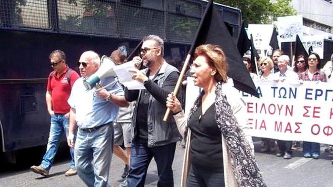 Greek journalists protesting over media reorganisation