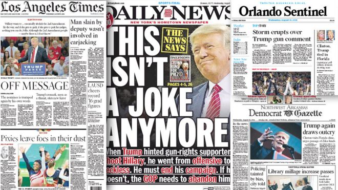 Trump reaction combo picture of US front-pages