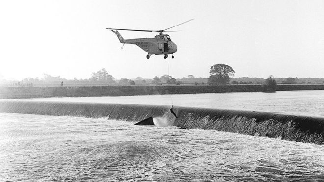 RAF helicopter at Cromwell Weir