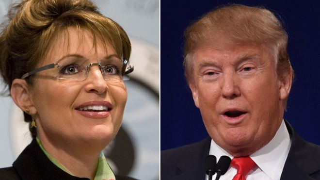 A composite image showing former US Vice-Presidential candidate Sarah Palin and businessman Donald Trump