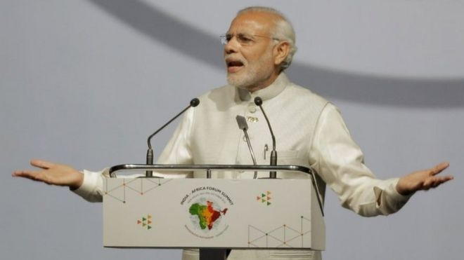 Indian Prime Minister Narendra Modi makes the opening speech during the India Africa Forum Summit at the Indira Gandhi sports complex in New Delhi, India, Thursday, Oct. 29, 2015.