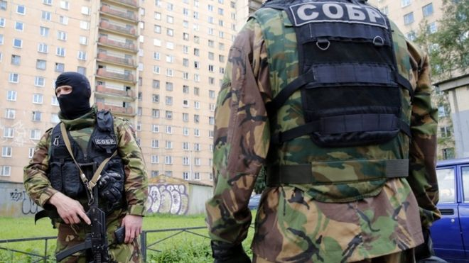 Russian security forces in St Petersburg