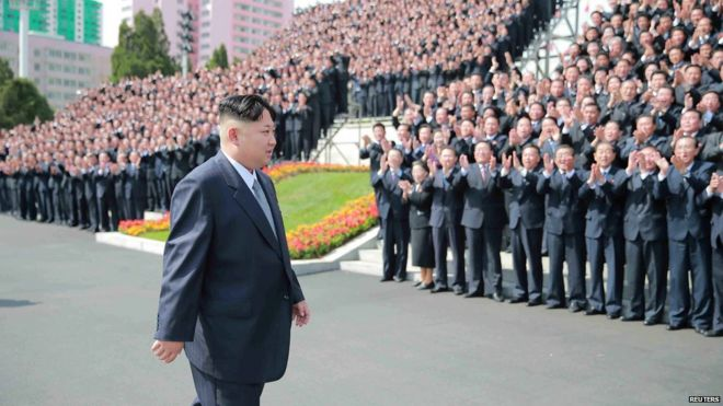 North Korean leader Kim Jong-un in front of crowds