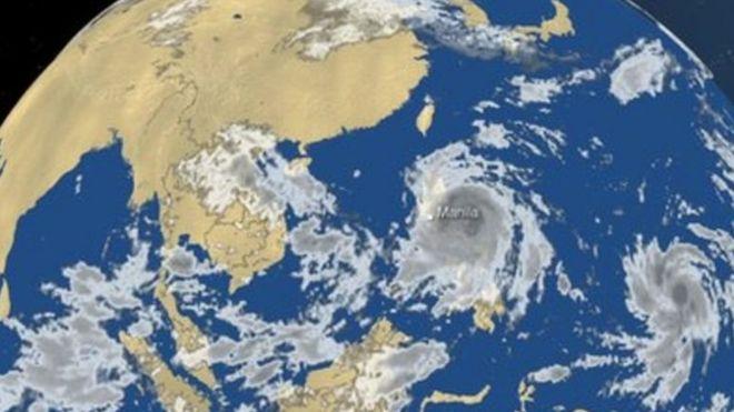 Kimbunga Typhoon Haima katika picha za satelite