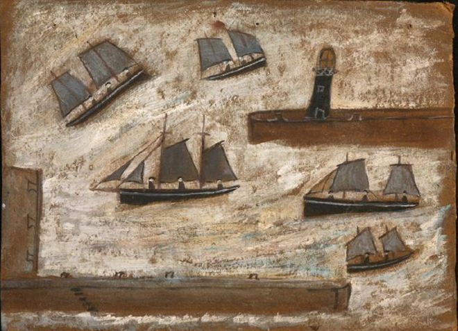 Boats Leaving Newlyn Harbour painting