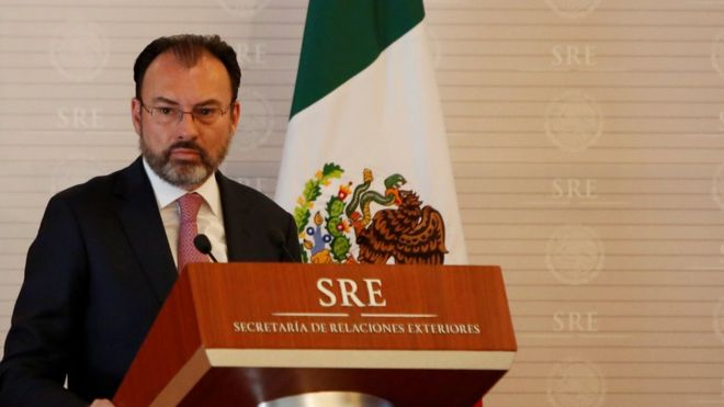 "Mexico""s Foreign Minister Luis Videgaray addresses the audience during a meeting between Mexico and the United Nations on human rights in Mexico City, Mexico February 22, 2017"