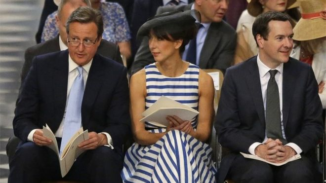 The Prime Minister David Cameron, his wife Samantha and Chancellor George Osborne were also among the service's guests