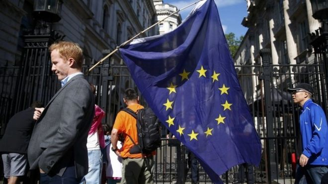 Man holding EU flag in London