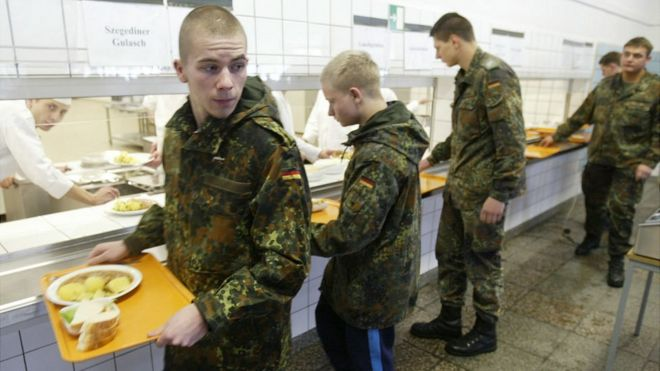 German cadets doing military service in Marienberg - 2004 file pic