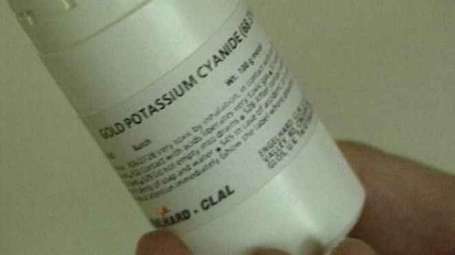 A cyanide container