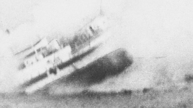 The HMS Anglia sinking