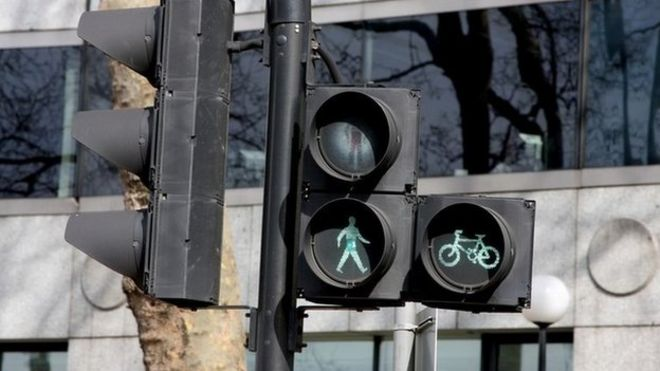 Green man and bicycle light