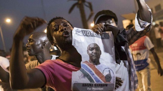 eople celebrate the inauguration of Gambia's new president Adama Barrow in Banju