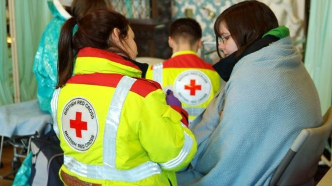 An emergency response volunteer for the Red Cross charity
