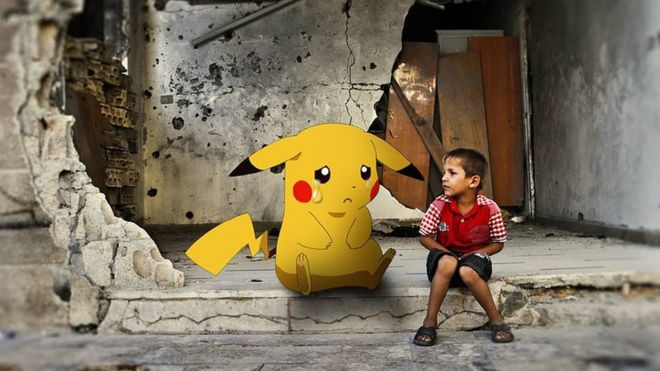 Pokemon in tears next to boy in Syrian war scene