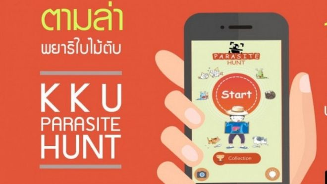 An advert fro the Thai Parasite Hunt app