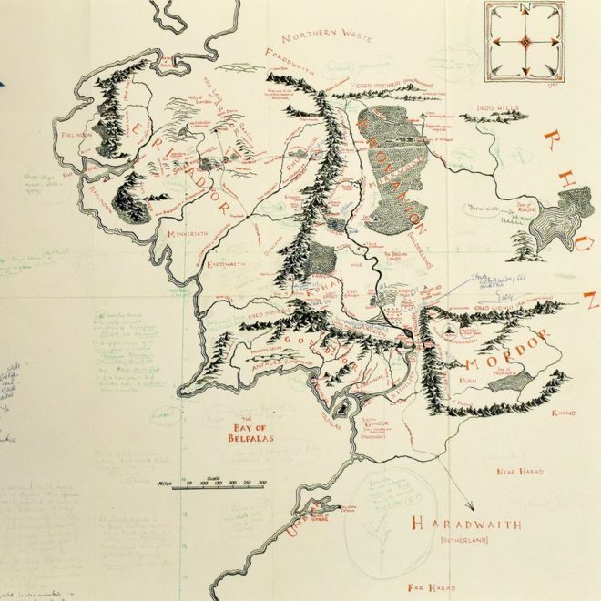 JRR Tolkiens annotated Middleearth map on show at Bodleian BBC – Map of Middle Earth