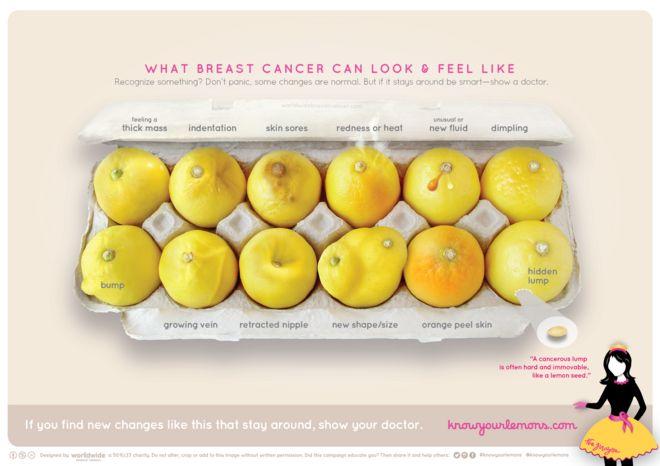 Различные признаки рака груди, показанные на примере лимонов