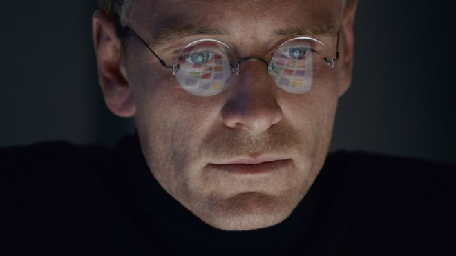 Image released by Universal Pictures of Michael Fassbender as Steve Jobs