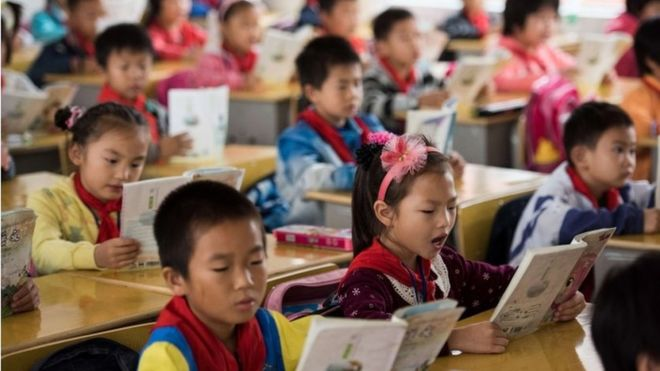 Pupils at a school in China's Hunan Province
