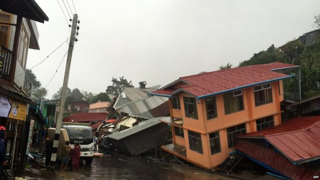 Apartments are destroyed following a landslide due to heavy rain in Harkhar, Chin State of Myanmar on 30 July