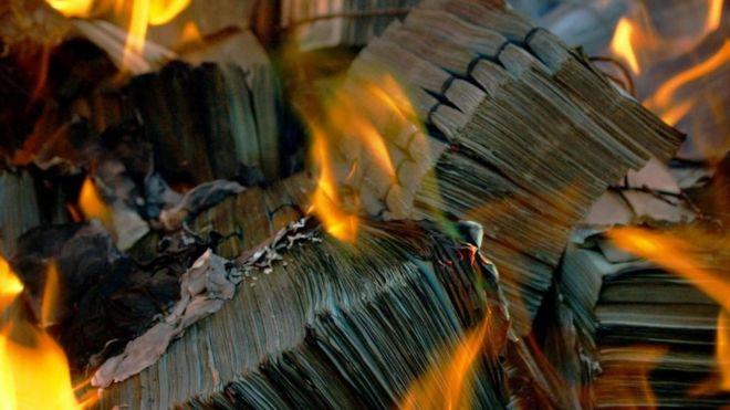Billetes quemándose en el fuego