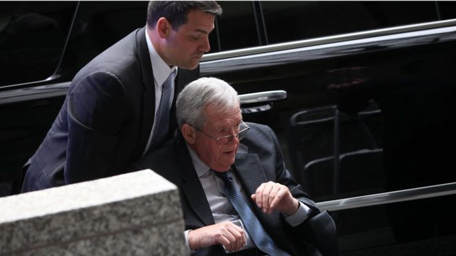 Former House Speaker Dennis Hastert arrives at the Dirksen federal court house for his hush-money case sentencing