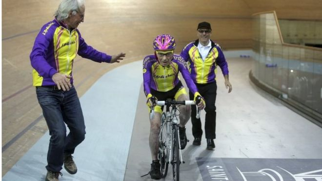 Robert Marchand, 105, sets a new hour cycling record for over 105s near Paris, 4 January 2017
