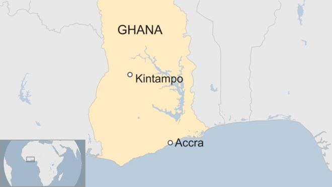 A map showing the location of Kintampo in Ghana, where the waterfalls lie