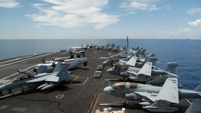 US aircraft on board the Nimitz aircraft carrier, as it patrols the South China Sea