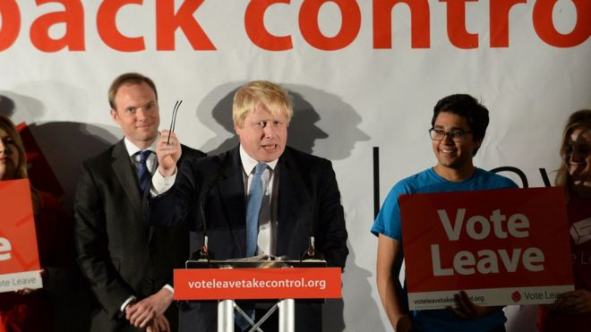 Boris Johnson at a Vote Leave event