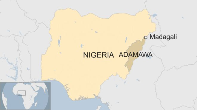 Map showing Madagali and its state of Adamawa within Nigeria.
