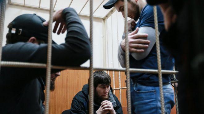 Подозреваемые по делоу об убийстве Бориса Немцова в здании Басманного суда