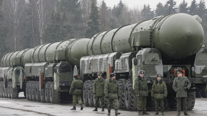 Topol RS-12M long-range nuclear missiles outside Moscow, 2008 file pic