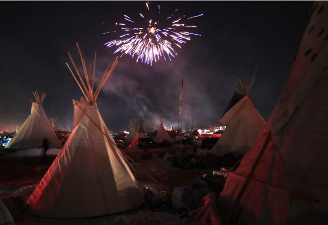 Fireworks at a Native American protest camp
