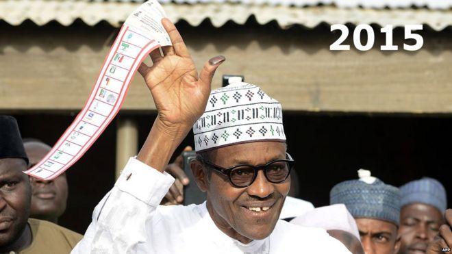 Muhammadu Buhari voting in March 2015