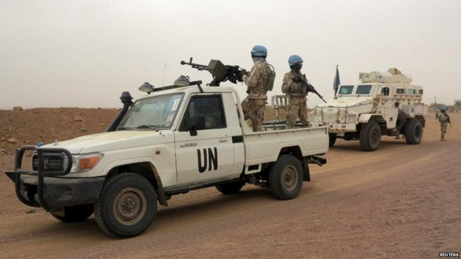 UN peacekeepers on patrol in Kidal, Mali - 23 July 2015