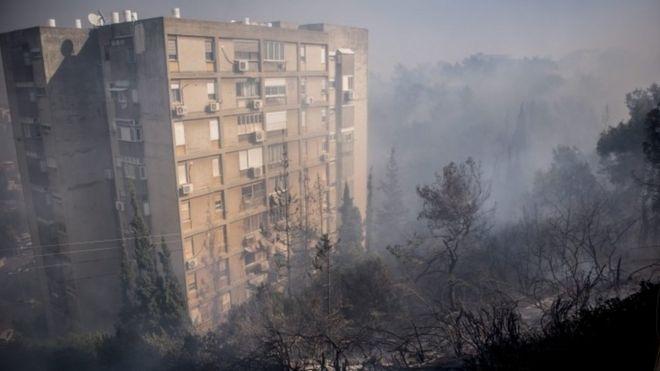 Дым в пригородном районе Хайфы