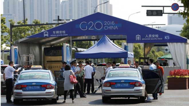 The entrance to a conference centre, where the G20 summit will be held, is pictured before the G20 Summit in Hangzhou, Zhejiang Province, China 31 August 2016.