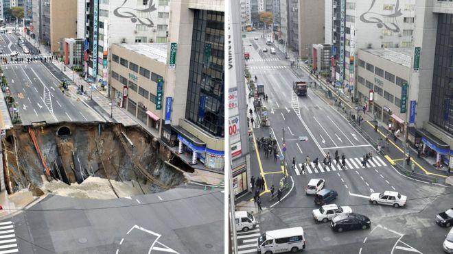 Imagem do buraco e da via já consertada.
