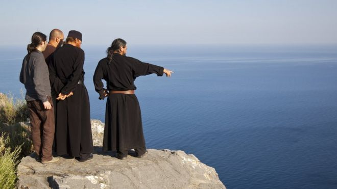 Monks and pilgrims on Mount Athos
