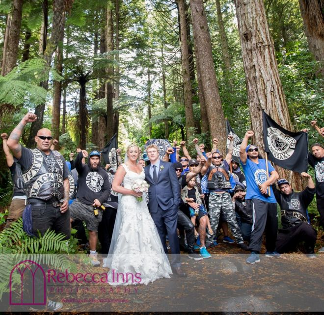 The newlyweds are photographed on New Zealand's North Island