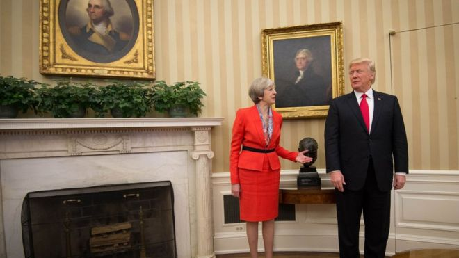 Theresa May and Donald Trump in Oval Office - 27 January